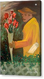 Man With Flowers  Acrylic Print by Bruce Stanfield