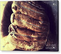 Man With Old Baseball Glove Acrylic Print by Ruby Hummersmith
