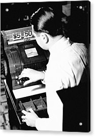 Man Working At Register Acrylic Print by George Marks