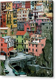 Manarola Houses On The Cinque Terre Acrylic Print by Greg Matchick