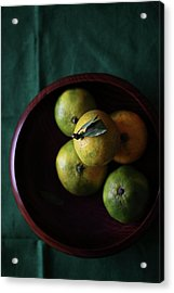 Mandarin Orange In Wooden Bowl Acrylic Print by © Miss Snail All right reserved