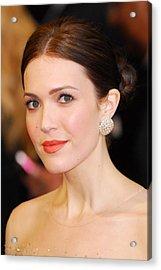 Mandy Moore Wearing Chopard Earrings Acrylic Print by Everett
