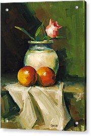 Mangoes And Rose Acrylic Print by Pepe Romero