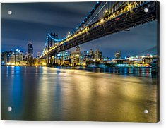 Manhattan Bridge And Downtown Brooklyn At Night. Acrylic Print