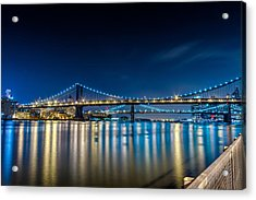 Manhattan Bridge And Light Reflections In East River. Acrylic Print