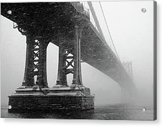 Manhattan Bridge Durning Winter Snow Storm Acrylic Print by Anthony Pitch