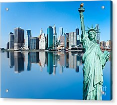 Acrylic Print featuring the photograph Manhattan Liberty by Luciano Mortula
