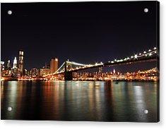 Manhattan Nightscape With Brooklyn Bridge Acrylic Print by Kean Poh Chua