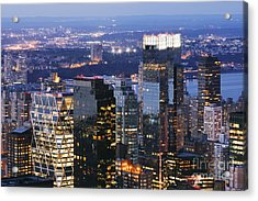 Manhattan Skyscrapers At Dusk Acrylic Print by Jeremy Woodhouse