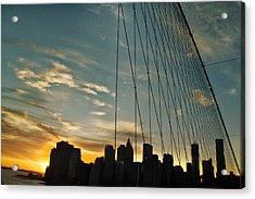Manhattan Through The Bridge Acrylic Print by Alex AG