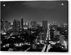 Manila Skyline Acrylic Print by Arj Munoz