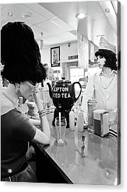 Mannequins At Peggy Sues 50's Diner Acrylic Print by Julie Niemela
