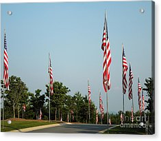 Many American Flags Acrylic Print by Renee Trenholm