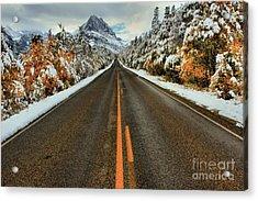 Many Glacier Road Acrylic Print by Adam Jewell