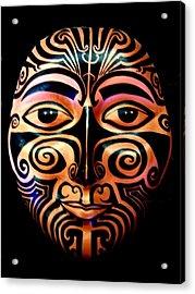 Acrylic Print featuring the sculpture Maori Mask by Michelle Dallocchio