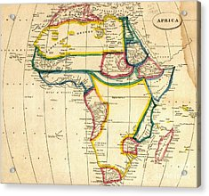 Map Of Africa 1812 Acrylic Print by Pg Reproductions