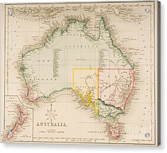 Map Of Australia And New Zealand Acrylic Print by J Archer
