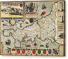 Map Of Cornwall Acrylic Print by John Speed
