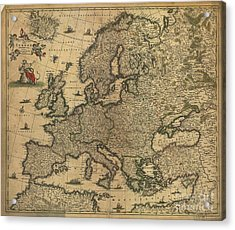 Map Of Europe, 1700 Acrylic Print by Photo Researchers