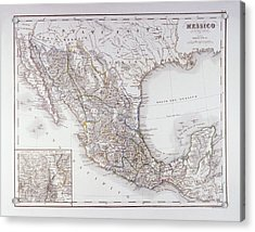 Map Of Mexico And Outlines Of Mexico City Acrylic Print by Fototeca Storica Nazionale