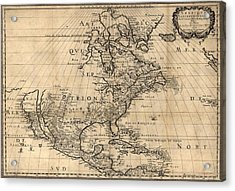 Map Of North America Continent Showing Acrylic Print by Everett