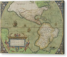 Map Of North And South America Acrylic Print by Abraham Ortelius