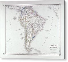 Map Of South America Acrylic Print by Fototeca Storica Nazionale