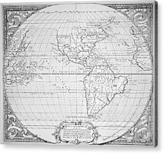 Map Of The New World 1587 Acrylic Print by Richard Hakluyt