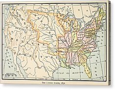 Map Of The United States In 1830 Acrylic Print by Everett
