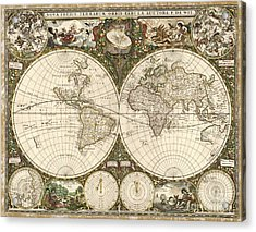 Map Of The World, 1660 Acrylic Print by Photo Researchers