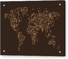 Map Of The World Map Floral Swirls Acrylic Print