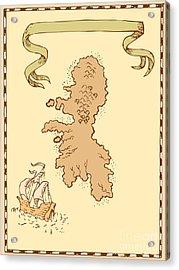 Map Treasure Island Tall Ship Acrylic Print by Aloysius Patrimonio