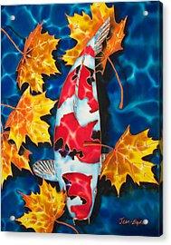 Maple Leaves And Koi Acrylic Print by Daniel Jean-Baptiste