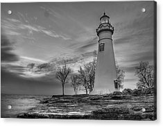 Marblehead Lighthouse In Black And White Acrylic Print