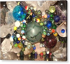Marbles And Other Things Shiny Acrylic Print by Rachel Carmichael