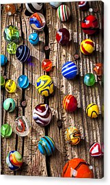 Marbles On Wooden Board Acrylic Print by Garry Gay