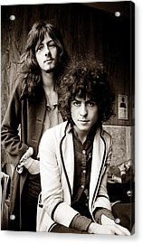 Marc Bolan T Rex 1969 Sepia Acrylic Print by Chris Walter