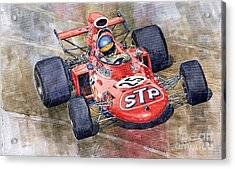 March 711 Ford Ronnie Peterson Gp Italia 1971 Acrylic Print by Yuriy  Shevchuk