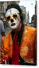 Acrylic Print featuring the photograph Mardi Gras Man In Mask by Jeanne  Woods