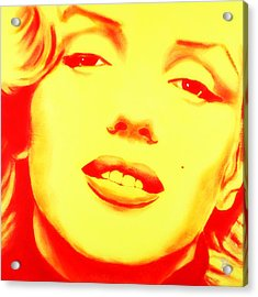 Marilyn Monroe - Yellow Red Acrylic Print