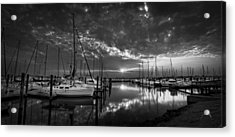 Acrylic Print featuring the photograph Marina At Fort Monroe Bw by Williams-Cairns Photography LLC