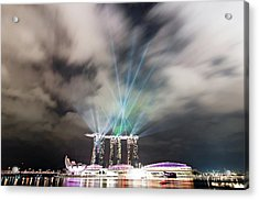 Marina Bay Colourful Night Acrylic Print by Paul Biris