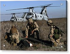 Marines And Sailors Being Transported Acrylic Print by Stocktrek Images