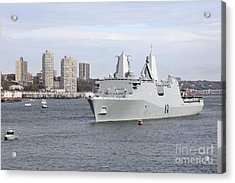 Marines And Sailors Man The Rails Acrylic Print by Stocktrek Images