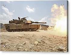 Marines Bombard Through A Live Fire Acrylic Print by Stocktrek Images