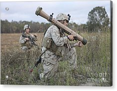 Marines Conduct A Simulated Attack Acrylic Print by Stocktrek Images