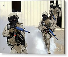 Marines Cross A Danger Area After Using Acrylic Print by Stocktrek Images