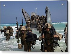 Marines Disembark A Landing Craft Acrylic Print by Stocktrek Images