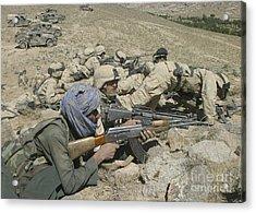 Marines Form A Skirmish Line While Acrylic Print