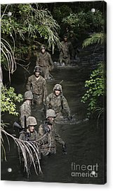 Marines Move To Their Next Obstacle Acrylic Print by Stocktrek Images
